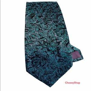 YSL Shimmery Blue Purple Green Silk Tie